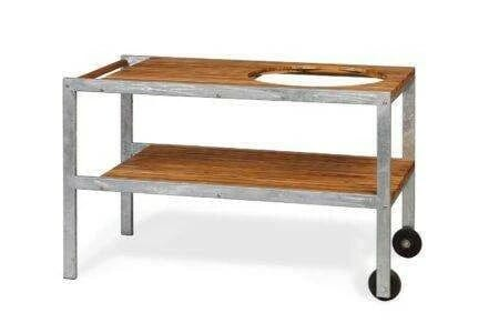 Monolith Stainless Steel Teak Table