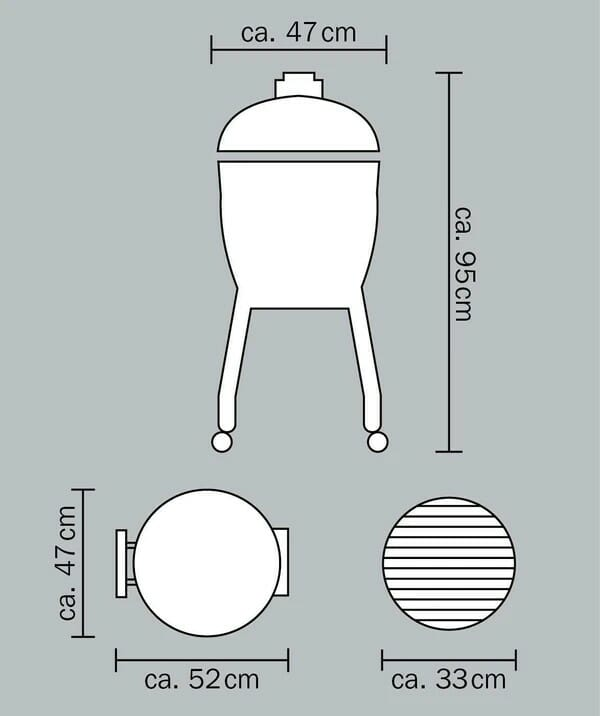 Monolith Junior BBQ Black with Cart Dimensions